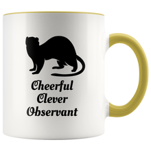 Load image into Gallery viewer, Ferret Totem Animal Coffee Mug Cheerful Clever Observant - Hundredth Monkey Tees