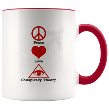 Load image into Gallery viewer, Peace Love Conspiracy Theory All Seeing Eye Coffee Mug - Hundredth Monkey Tees