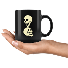 Load image into Gallery viewer, Two Laughing Skulls Coffee Mug Skeleton Halloween Cool Art Cup - Hundredth Monkey Tees