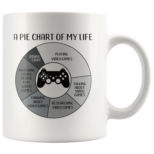 Funny Video Game Lovers Pie Chart Coffee Mug Gamers Geeks Computer Nerds Joke - Hundredth Monkey Tees