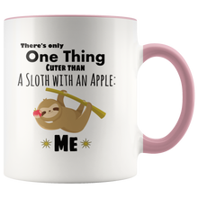 Load image into Gallery viewer, Cute Sloth Coffee Mug Cuter than a Sloth with an Apple - Hundredth Monkey Tees