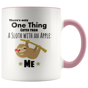 Cute Sloth Coffee Mug Cuter than a Sloth with an Apple - Hundredth Monkey Tees