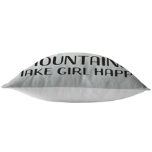 Load image into Gallery viewer, Mountains Make Girl Happy Throw Pillow for Outdoor Lovers PNW Camping