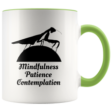 Load image into Gallery viewer, Praying Mantis Totem Animal Coffee Mug Mindfulness Patience Contemplation - Hundredth Monkey Tees