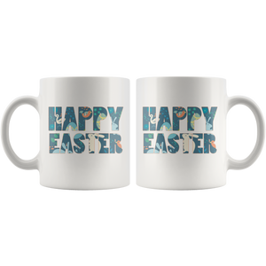 Happy Easter Coffee Mug Gift Bunny Eggs Spring - Hundredth Monkey Tees