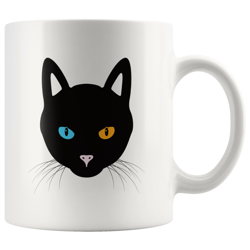 Odd Eyed Black Cat Two Different Color Eyes Coffee Mug