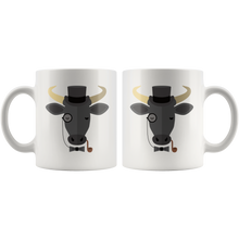 Load image into Gallery viewer, Cute Hipster Bull Coffee Mug Monocle Top Hat Funny Gift - Hundredth Monkey Tees