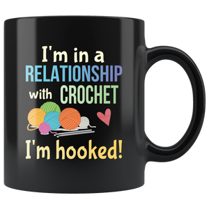 Funny Crochet Crafters Coffee Mug Committed Relationship Hooked Pun - Hundredth Monkey Tees
