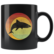 Load image into Gallery viewer, Retro Shark Coffee Mug Geometric Eclipse Grunge Distressed Style