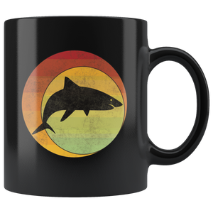 Retro Shark Coffee Mug Geometric Eclipse Grunge Distressed Style - Hundredth Monkey Tees