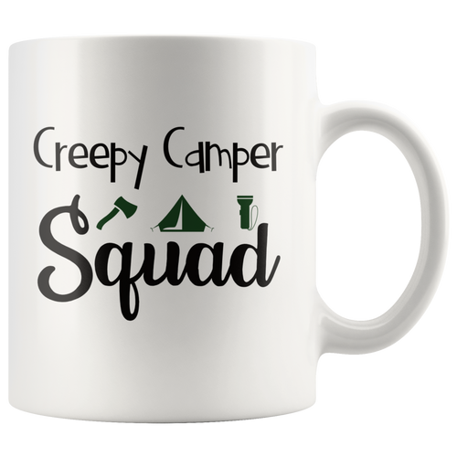 Creepy Camper Squad Funny Camping Coffee Mug - Hundredth Monkey Tees