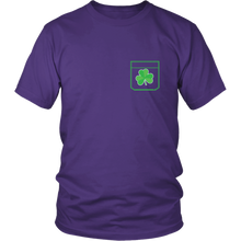 Load image into Gallery viewer, Pocket Shamrock Tshirt Lucky Irish St Patricks Day Shirt - Hundredth Monkey Tees
