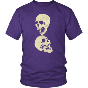 Two Laughing Skulls Tshirt Skeleton Distressed Grunge Halloween Graphic Tee - Hundredth Monkey Tees
