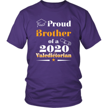 Load image into Gallery viewer, Valedictorian Class of 2020 Proud Brother Family Graduation Matching Tshirt