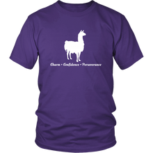 Load image into Gallery viewer, Llama Totem Animal Tshirt Charm Confidence Perseverance - Hundredth Monkey Tees