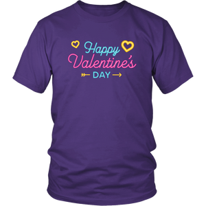 Happy Valentine's Day Tshirt Neon Sign Hearts Vday Shirt - Hundredth Monkey Tees