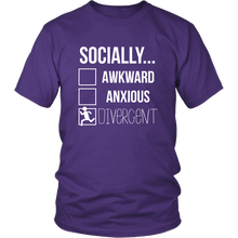 Load image into Gallery viewer, Socially Divergent Antisocial Tshirt Introvert Selective Anxiety Sarcasm Tee - Hundredth Monkey Tees