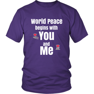World Peace Begins with You and Me Inspirational Tshirt - Hundredth Monkey Tees