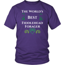 Load image into Gallery viewer, World's Best Fiddlehead Forager Tshirt For Seasonal Northeastern Activity - Hundredth Monkey Tees
