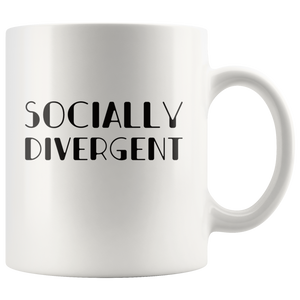 Antisocial Coffee Mug Funny Socially Divergent Introvert Gift antisocial funny Drinkware