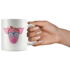 Cute Hipster Pig Coffee Mug Bandana Glasses Funny Farmer Gift - Hundredth Monkey Tees