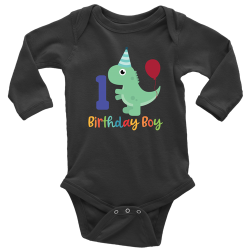 1 Year Old Birthday Boy Dinosaur Long Sleeve Bodysuit - Infant Sizes