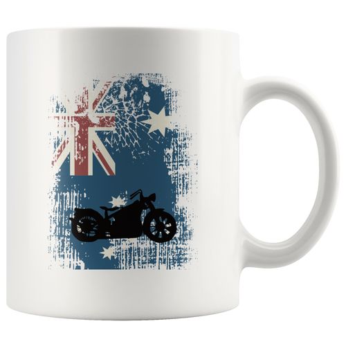 Australian Flag Motorcycle Biker Coffee Mug Patriotic Distressed Unisex Tee - Hundredth Monkey Tees