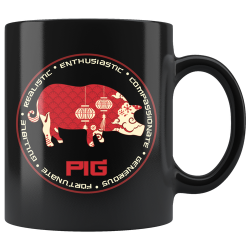 Chinese Zodiac Year of the Pig Boar Coffee Mug Astrology Horoscope Gift - Hundredth Monkey Tees