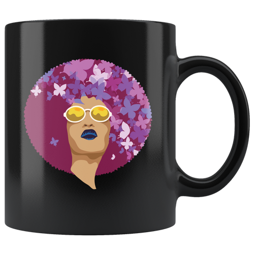 African American Queen Bohemian Coffee Mug Vintage Retro Afro Butterflies - Hundredth Monkey Tees
