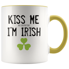 Load image into Gallery viewer, Kiss Me (We Can Pretend) I'm Irish Funny St Patricks Day Coffee Mug - Hundredth Monkey Tees