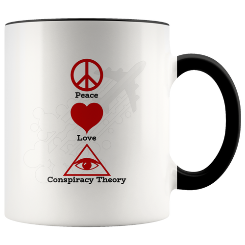 Peace Love Conspiracy Theory All Seeing Eye Coffee Mug - Hundredth Monkey Tees