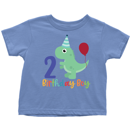 2 Year Old Birthday Boy Dinosaur Shirt - Toddler Sizes