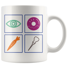 Load image into Gallery viewer, Eye Donut Carrot All Funny Sarcasm Word Pun Coffee Mug - Hundredth Monkey Tees