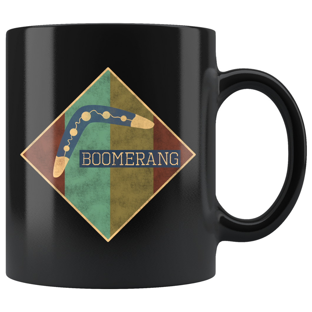 Boomerang Coffee Mug Vintage Style Distressed Grunge Logo Design - Hundredth Monkey Tees