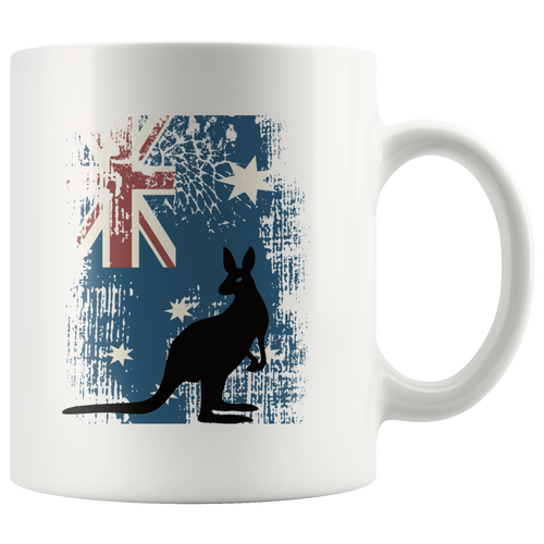 Australian Flag Kangaroo Coffee Mug Patriotic Animal Distressed Unisex Tee - Hundredth Monkey Tees