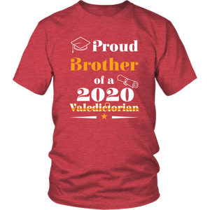 Valedictorian Class of 2020 Proud Brother Family Graduation Matching Tshirt