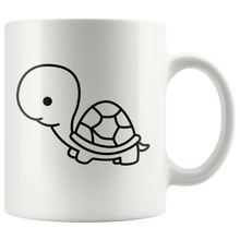 Load image into Gallery viewer, Cute Baby Turtle Coffee Mug Simple Black and White Cartoon Design Pet Wildlife Lover - Hundredth Monkey Tees
