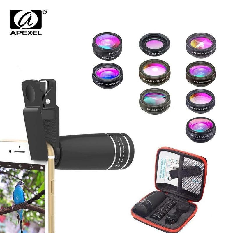10 in 1 Mobile Phone Lens Telephoto Fisheye Wide Angle Macro Lens CPL/Flow/Radial/Star Filter APEXEL