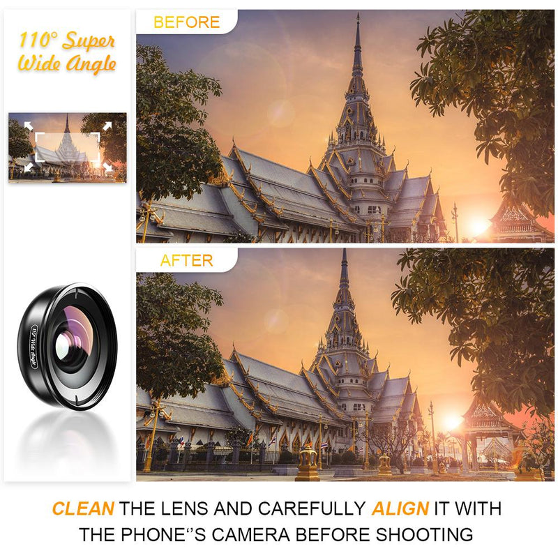 No Distortion 110° HD Wide Angle Lens for Iphone Android Mobile Phone APEXEL
