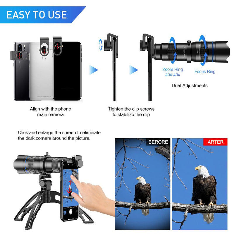 New Premium Mobile Adjustable Real 20-40X Zoom Telescope Lens Mobile Photography Accessories APEXEL