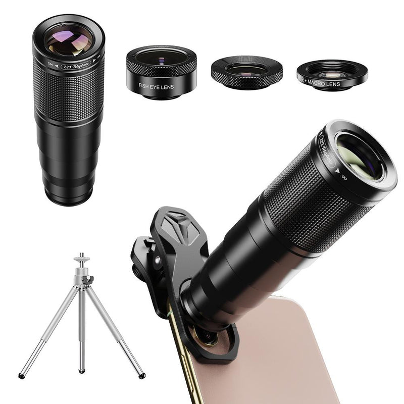 New Top Seller 2020 APEXEL Mobile Camera Lens Universal Clip 22X Optical Zoom Telescope Lens Kit 4in1 With Tripod APEXEL