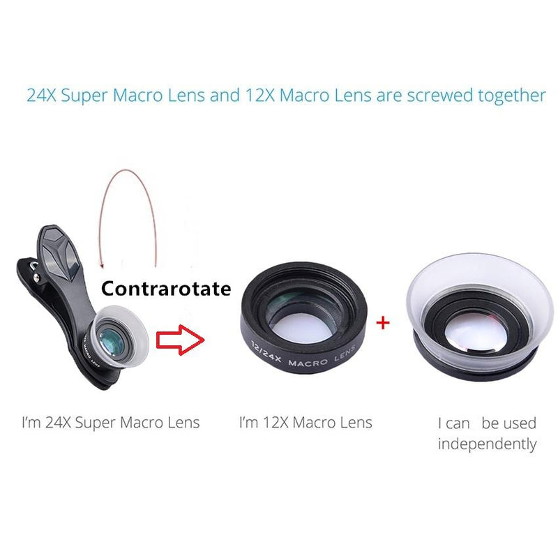 2 in 1 12x/24x Camera Macro Lens with Universal Clip for Mobile Phone APEXEL