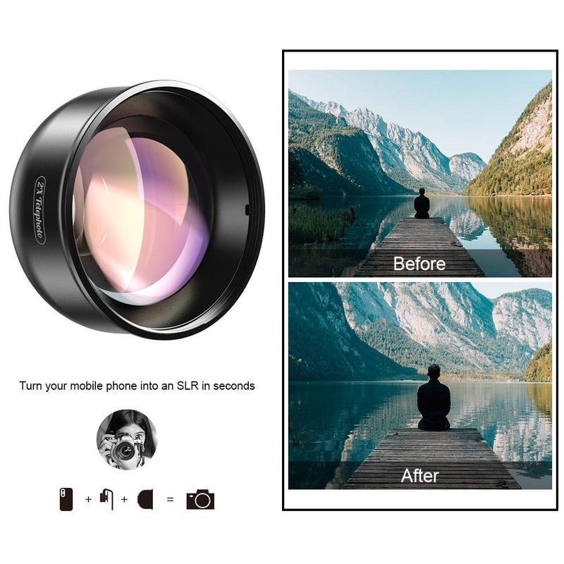 Universal Clip 2x Portrait Telephoto Lens for iPhone APEXEL