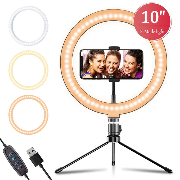 "APEXEL 10"" 26cm LED Selfie Circle Ring Light with Stand and Phone Holder APEXEL With Tripod"