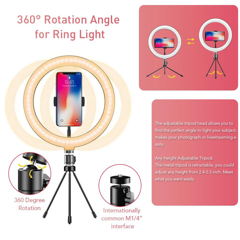 "APEXEL 10"" 26cm LED Selfie Circle Ring Light with Stand and Phone Holder APEXEL"