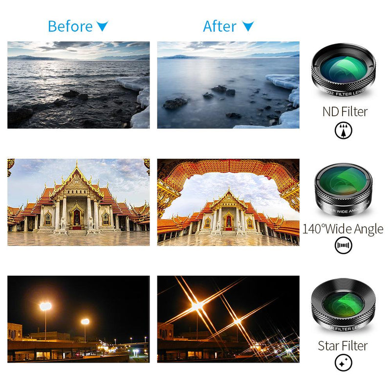6 in 1 Phone Camera Lens Kit FishEye Wide Angle Macro CPL/Star Filter 2X Telescope APEXEL