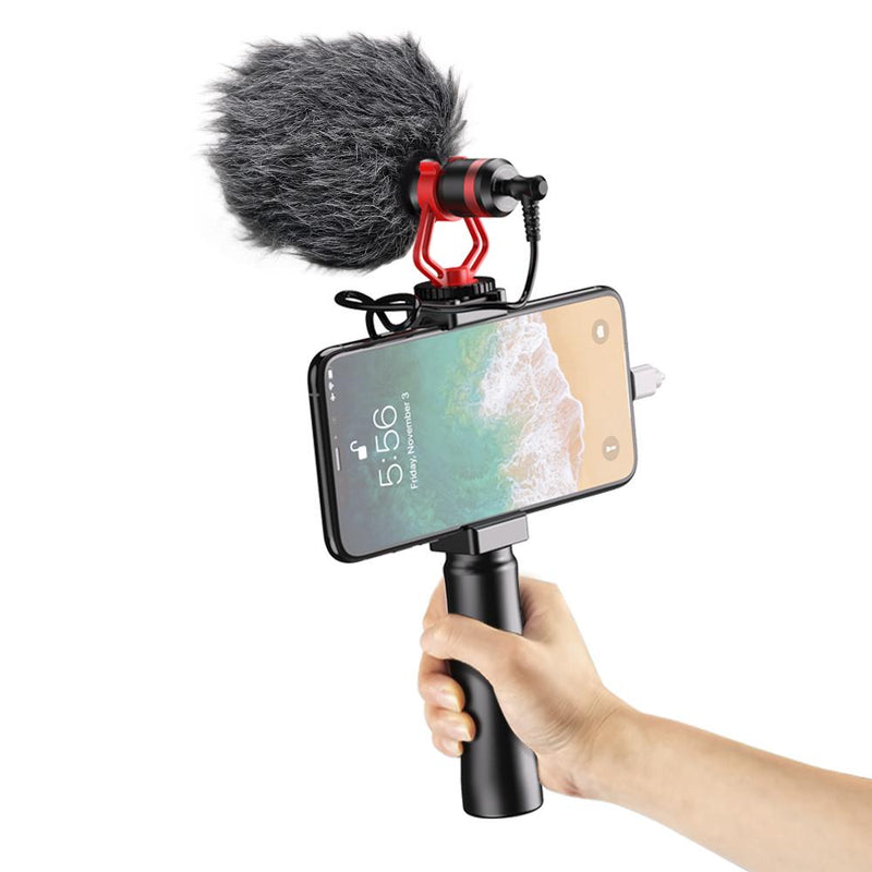 Vlogging Video Equipment Handle Grip Tripod Kit with LED light microphone APEXEL Handle Grip with Microphone