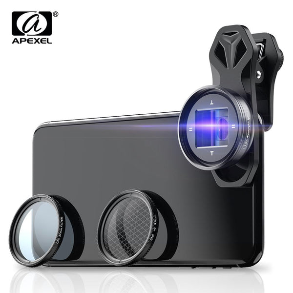 Apexel New 1.33X Anamorphic Filmmaking Phone Camera Lens With CPL Star Filter Mobile Photography Accessories APEXEL