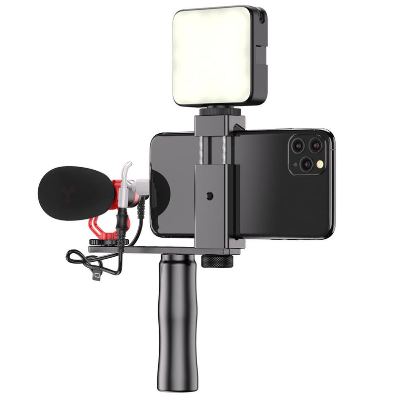 Vlogging Video Equipment Handle Grip Tripod Kit with LED light microphone APEXEL Full Set(Handle+Microphone+Light)