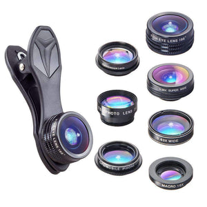 Apexel 198 Fisheye 0.36x Wide Angle Telescope CPL Kaleidoscope Mobile Camera Cover 7-in-1 Lens APEXEL